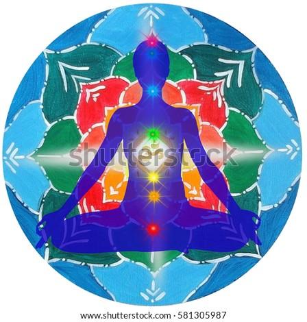 lotus pose hands prayer padmasana colored stock