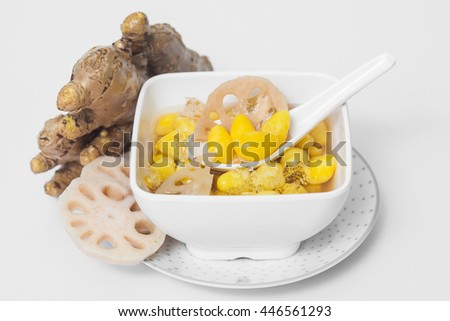 Lotus root ginger, Ginkgo on white backgrouind