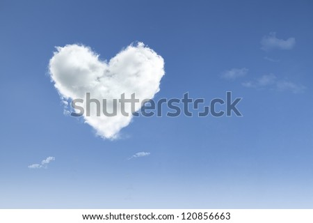 Love cloud with heart shape floating on blue sky with copy space