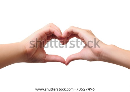 Love concepts - Hands forming a heart on white background