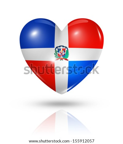 Love Dominican Republic symbol. 3D heart flag icon isolated on white with clipping path
