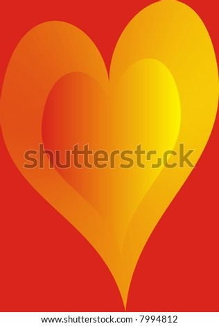 Love Heart on red background.