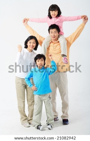 Lovely Smiling Family with hand signs