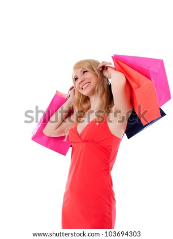 lovely stylish woman with shopping bags over white