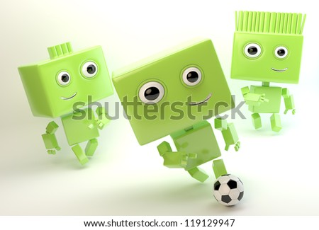 Lovely toy figures that play football / Football friends