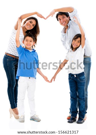 Loving family making a heart shape - isolated over white background