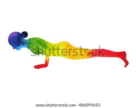 child pose yoga 7 color chakra stock illustration