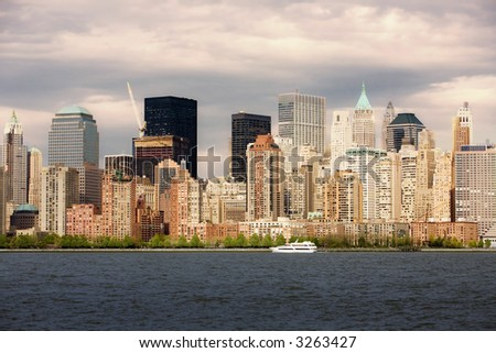 Lower Manhattan and Hudson River