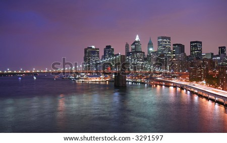 Lower Manhattan lights at twilight