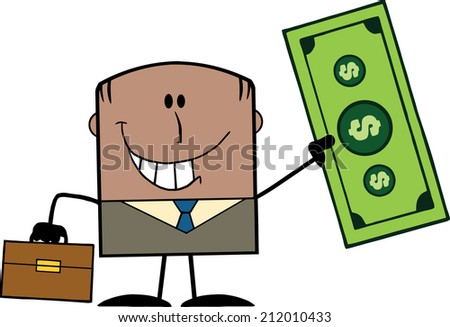 Lucky African American Businessman With Briefcase Holding A Dollar Bill Cartoon Character