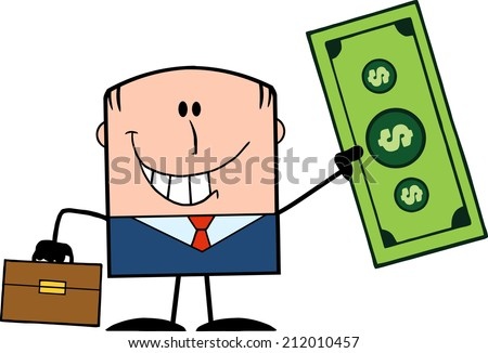 Lucky Businessman With Briefcase Holding A Dollar Bill Cartoon Character