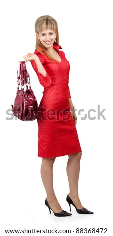 Lucky girl with the bag. Isolated on white background