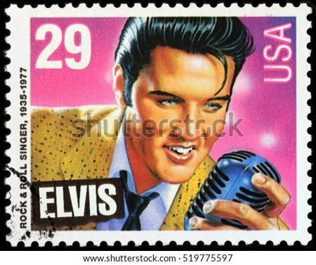 LUGA, RUSSIA - NOVEMBER 6, 2016: A stamp printed by UNITED STATES shows image portrait of famous American singer Elvis Presley, circa 1993