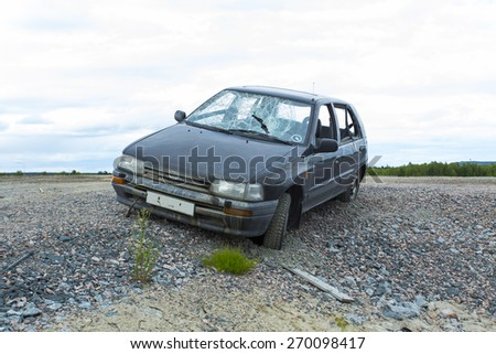 Lulea, Sweden - June 18, 2014. Accident car crash.