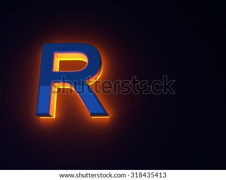 Luminous fiery blue letters. Orange glow. Blue shiny font. Separate letters. Raster illustration