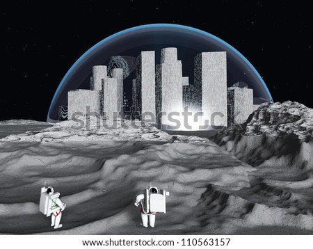 Lunar city and astronaut