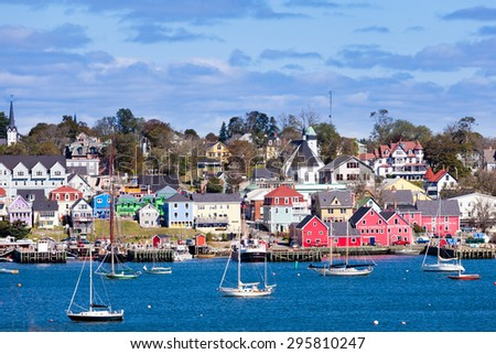 Lunenburg, NS, Canada, SEP 23, 2014: UNESCO world heritage site of historic downtown Lunenburg and harbor at the Atlantic ocean, on SEP 23, 2014, Lunenburg, Nova Scotia, NS, Canada