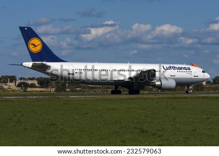 Luqa, Malta February 15, 2009: Lufthansa Airbus A300B4-603 backtracking 31 for departure to Frankfurt.