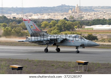 Luqa, Malta September 24, 2005: Royal Air Force Panavia Tornado GR4 [ZG774] taking off from runway 06.