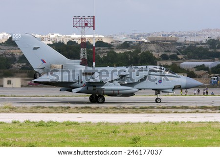 Luqa, Malta Sptember 28, 2009: Royal Air Force Panavia Tornado GR4 ZA604 taxis out of apron 4 for departure.