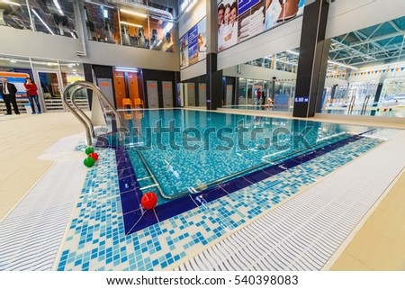 LUTSK, UKRAINE - 10 October 2016 Covered winter pool. SPA. interior of public swimming pool. Opening of sport center on October 10, 2016 in Lutsk, Ukraine