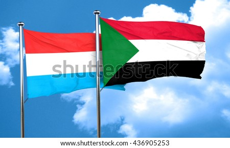 Luxembourg flag with Sudan flag, 3D rendering
