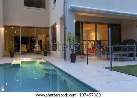 Luxurious Modern House Swimming Pool Backyard Stock Photo - Modern house backyard