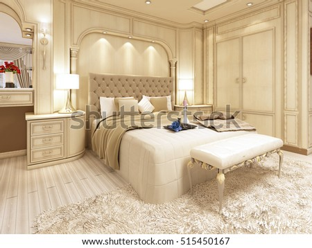 Luxury Bed In A Large Neoclassical Bedroom With Decorative Niche In The  Wall. Dressing Table
