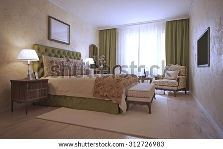 Luxury bedroom mediterranean style. The spacious room with vintage furniture. Decorative plaster and olive curtains. 3D render