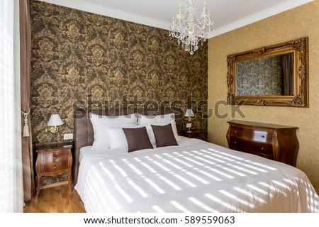 luxury bedroom interior design classic style stock illustration