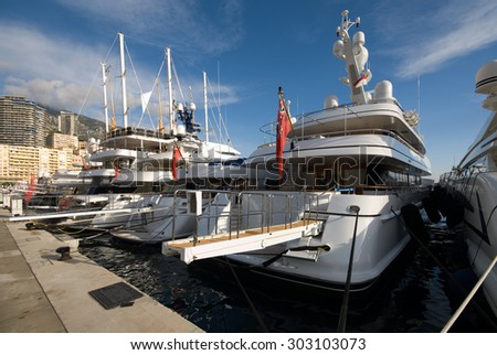 Luxury boats, docked in Monte Carlo's harbour, Monaco