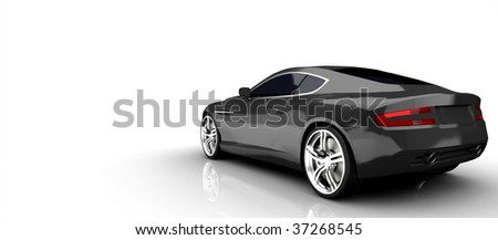 Luxury British sports Car in silver isolated on white