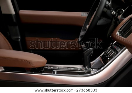 Luxury car interior background. Horizontal photo.