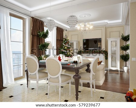 Luxury Classic Interior Of Dining Room Kitchen And Living With White Furniture