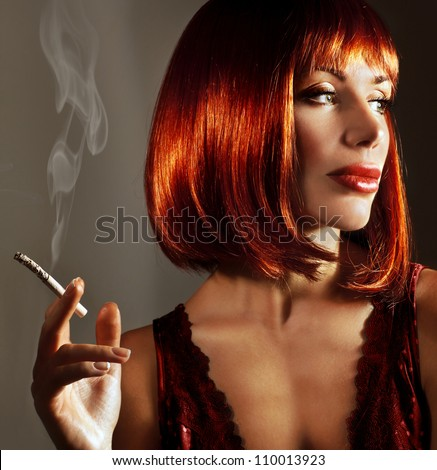 Getting a Bride — The Real Deal stock photo luxury close up portrait of attractive girl beautiful lady with fashionable red hairstyle smoke 110013923