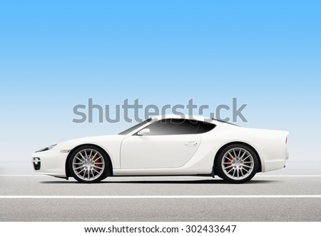 Luxury 3D white sports car