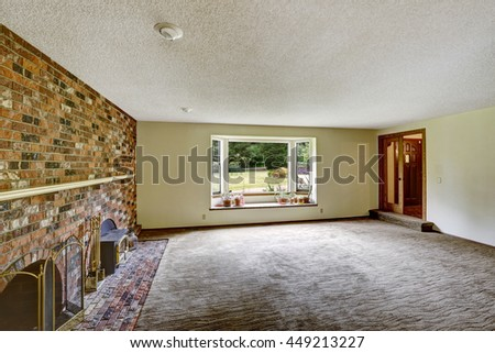 Empty Living Room Features White Walls Stock Photo 578600743