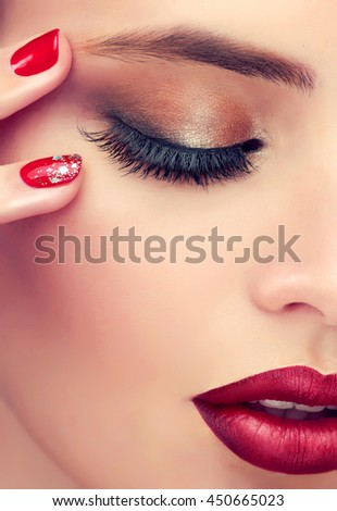High Fashion Lookglamor Closeup Beauty Portrait Stock