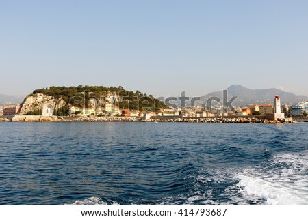 Luxury houses, apartments and condominiums along the Mediterranean coast of the French Riviera near Nice, France. Horizontal with copy space for text