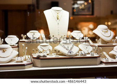 Luxury jewelry show with many items on display
