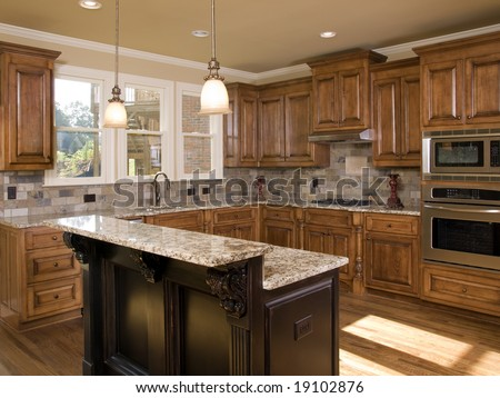 Modern Kitchen Cherry Cabinets Granite Counter Stock Photo