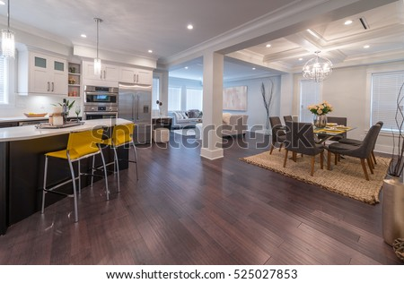 Luxury modern kitchen and dining room, area. Interior design