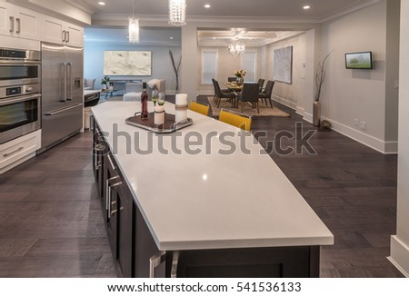 Luxury modern kitchen counter and dining room, area. Interior design.