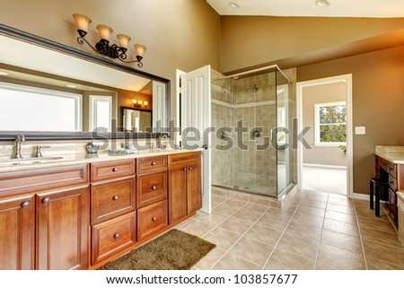 Luxury new large bathroom interior with brown tiles and wood cabinets.