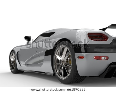 Awesome Black Supercar Rear Wheel Shot Stock Illustration