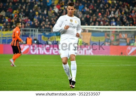LVIV, UKRAINE - OCT 25: Cristiano Ronaldo during the UEFA Champions League match between Shakhtar vs Real Madrid, 25 October 2015, Arena Lviv, Ukraine