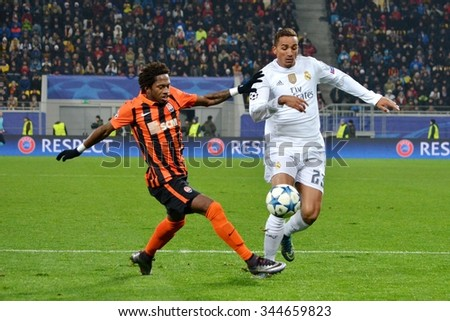 LVIV, UKRAINE - OCT 25: Danilo (R) against Fred during the UEFA Champions League match between Shakhtar vs Real Madrid, 25 October 2015, Arena Lviv, Ukraine