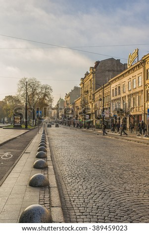 LVIV, UKRAINE - OCT 27, 2015: Morning Lviv. Liberty Avenue . Opera House on the left side. The streets and houses of the old town. Picture taken in the morning during a trip to Lviv.