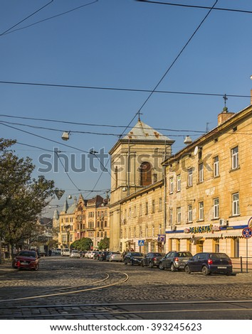 LVIV, UKRAINE -OCT 29, 2015: Pydvalna Street.  The streets and houses of the old town Lviv. Picture taken in the evening during a trip to Lviv.