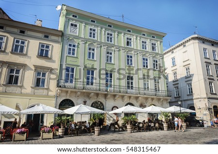 Lviv, Ukraine - September 07, 2016: Street cafe in the Market Square in center of Lviv